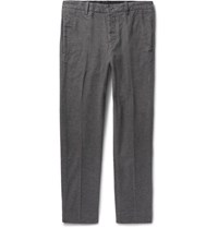 Outerknown Slim Fit Bainbridge Checked Brushed Cotton Twill Trousers Charcoal