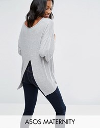 Asos Maternity Top With Kimono Sleeve And Split Back In Oversized Fit Grey