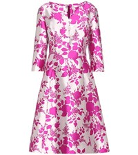 Oscar De La Renta Printed Silk Dress Silver