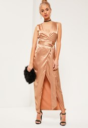 Missguided Gold Silky Sleeveless Wrap Tie Maxi Dress