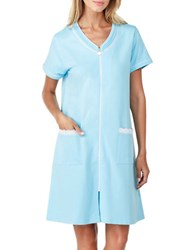 Eileen West French Terry Short Zip Robe Blue