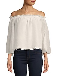 Laundry By Shelli Segal Lace Trimmed Off The Shoulder Blouse Marshmallow