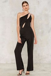 Oh My Love Hanging On Asymmetric Jumpsuit Black