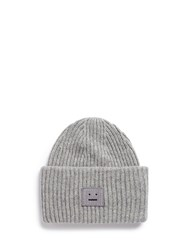Acne Studios 'Pansy' Emoticon Patch Wool Beanie Grey
