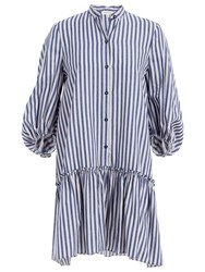Max Studio Stripe Shirt Dress Denim Blue Chambray Stripe