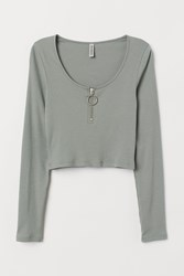 Handm H M Ribbed Top With Zip Green