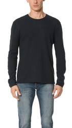 Baldwin Denim Emmett Boiled Wool Crew Sweater Deep Sea