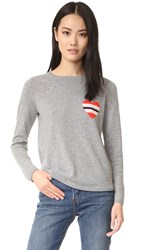 Chinti And Parker Striped Heart Cashmere Sweater Grey Marl