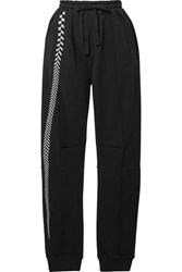 Haider Ackermann Embroidered Cotton Jersey Track Pants Black