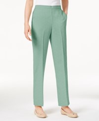 Alfred Dunner Ladies Who Lunch Textured Straight Leg Pants Aqua