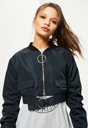 Missguided Petite Exclusive Navy Oversized Ring Pull Crop Bomber Jacket