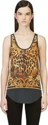 Balmain Black And Yellow Leopard Print Tank Top