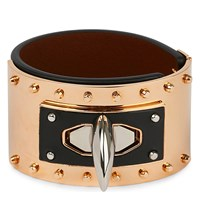 Givenchy Shark Tooth Leather Bracelet Blk Copper