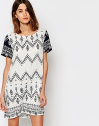 Vila Zig Zag Print Shift Dress Snow White Multi