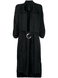 Taylor Tucked Cocoon Trench Coat Black