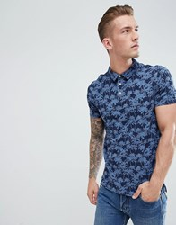 Pier One Polo Shirt With Palm Tree Print In Blue