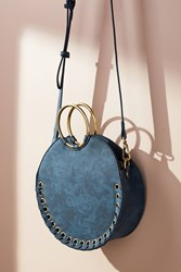 Anthropologie Stitched Circular Crossbody Bag Turquoise