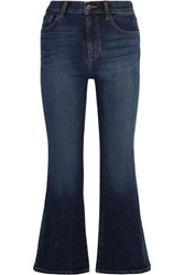 J Brand Carolina Cropped High Rise Flared Jeans Mid Denim