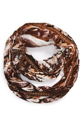 Tildon 'Psychedelic' Print Infinity Scarf Brown