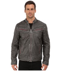 Affliction Two Pistons Faux Leather Moto Jacket Black Men's Coat