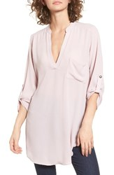 Lush Women's Perfect Roll Tab Sleeve Tunic Violet Ice