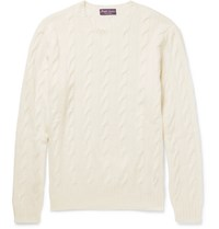 Ralph Lauren Purple Label Cable Knit Cashmere Sweater Cream