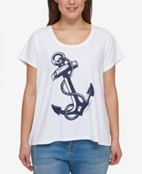 Tommy Hilfiger Plus Size Anchor Graphic T Shirt White Navy