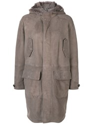 Closed Long Sleeved Parka Nude And Neutrals