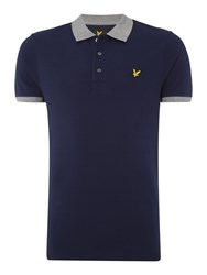 Lyle And Scott Men's Contrast Rib Short Sleeve Polo Navy