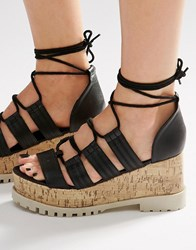 Asos Touche Lace Up Wedge Sandals Black