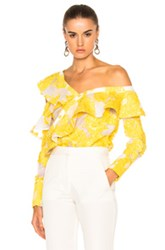 Self Portrait Fil Coupe Frill Shirt In Floral Yellow White Floral Yellow White