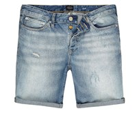 River Island Mens Light Blue Wash Slim Fit Denim Shorts