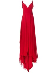 Christian Siriano Rope Straps Pleated Gown Red