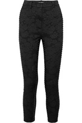Dolce And Gabbana Cropped Lace Up Floral Jacquard Skinny Pants Black