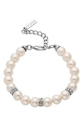 Nina Women's Imitation Pearl And Crystal Bracelet Ivory Pearl Silver