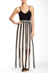 Ryu Pleated Striped Maxi Skirt Black