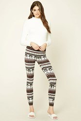 Forever 21 Snowman Print Knit Leggings Grey Cream