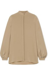 The Row Vara Oversized Silk Crepe De Chine Blouse Army Green