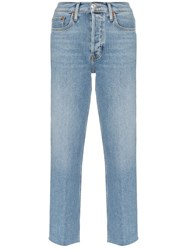 Re Done Stovepipe High Waist Jeans Blue
