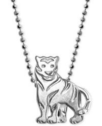 Alex Woo Little Tiger Zodiac Pendant Necklace In Sterling Silver