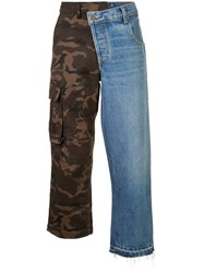 Monse Denim And Camouflage Patchwork Jeans Blue