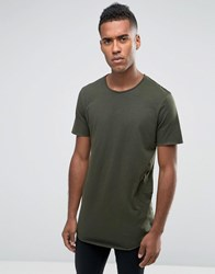 Jack And Jones Longline T Shirt With Curved Hem Rosin Brown