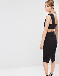 Finders Keepers Pencil Dress With Back Detail Black
