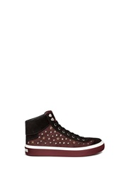 Jimmy Choo 'Argyle' Star Stud Houndstooth Suede Sneakers Red