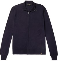 Belstaff Slim Fit Cotton And Cashmere Blend Zip Up Cardigan Blue