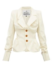 Vivienne Westwood Single Breasted Ruched Wool Jacket Cream