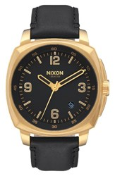 Nixon Men's Charger Leather Strap Watch 42Mm Black Gold