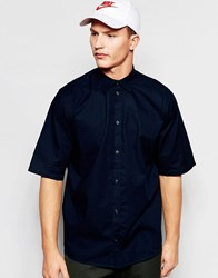 Weekday Pointbreak Shirt Short Sleeve Loose Boxy Fit In Dark Blue Dark Blue 73 217 Navy