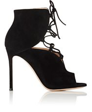 Gianvito Rossi Women's Lace Up Peep Toe Booties Colorless