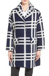 Women's Pink Tartan Windowpane Print Wool Blend Coat